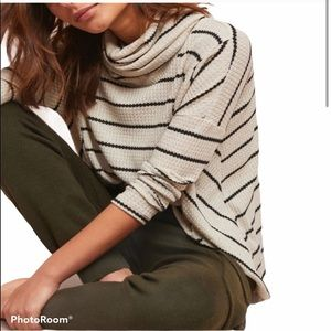 Anthropologie Striped Cowlneck Thermal Top